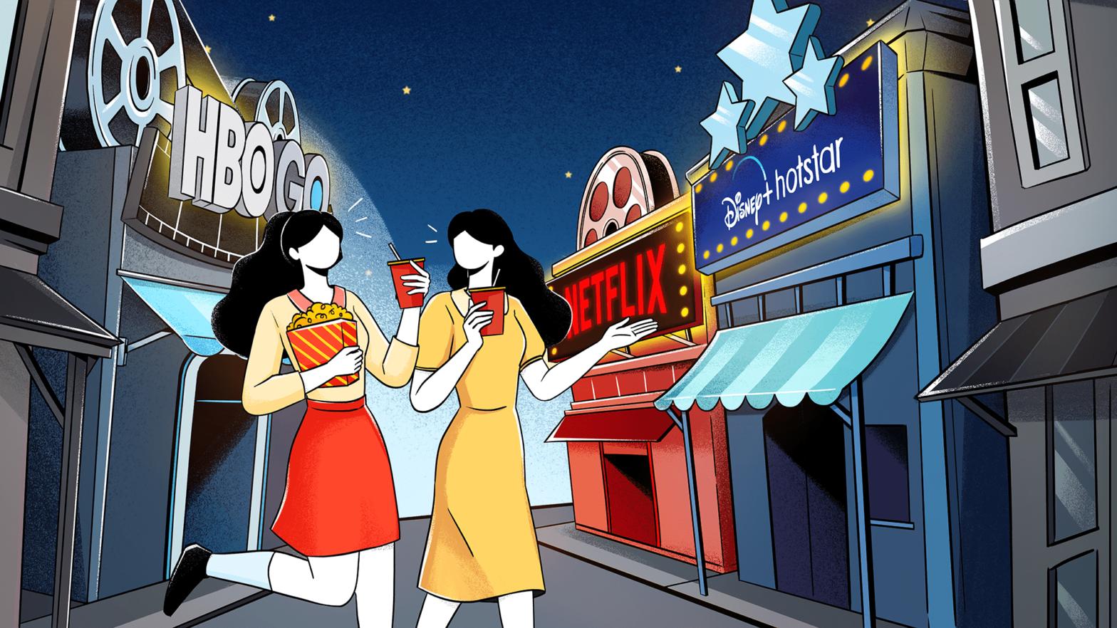 Snappymob UIUX Audit: Netflix, Disney+ Hotstar, HBO GO app comparison